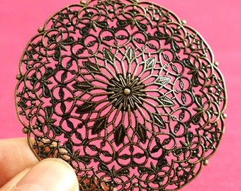 Top Quality Antique Bronze Filigree Round Patch