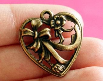 Lead Free 10pcs Antique Bronze Heart Pendants A12143-AB-FF