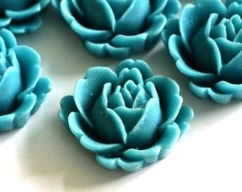 Sale 20pcs Blue Flower Cabochons 20mm