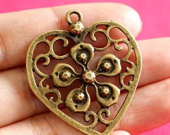 5pcs Antique Bronze Big Heart with Flower Pendants EA13596Y-AB