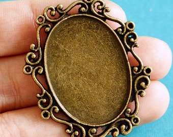 6pcs 40mm Antique Bronze Oval Cameo Base Settings