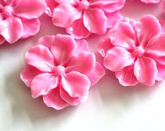 Sale 8pcs Pink Big Mum Flower Cabochons 24mm