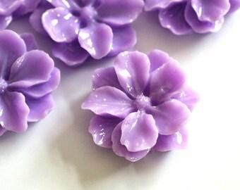 Sale 8pcs Purple Big Mum Flower Cabochons 24mm