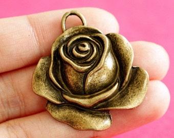 Lead Free 4pcs Antique Bronze Big Rose Pendants 12811-AB-FF