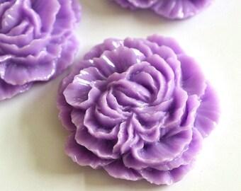 Sale 4pcs Purple Big Peony Flower Cabochons 31mm