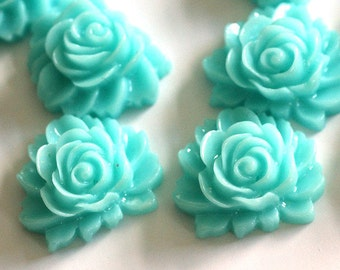 10pcs Turquoise Rose Flower Cabochons 16mm