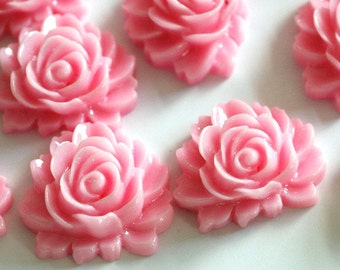 10pcs Pink Rose Flower Cabochons 16mm