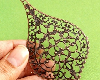 10pcs 76mm ANTIQUE Copper FILIGREE Pendants