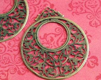 Sale 10pcs 60mm Antique Bronze Filigree Pendants