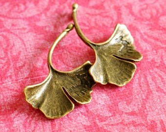 Sale Lead Free 4pcs Antique Bronze Big Leaf Pendants
