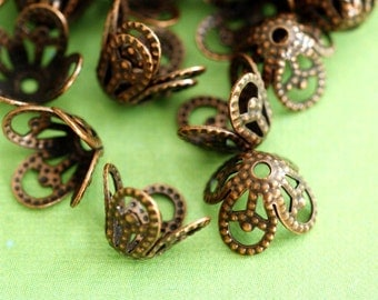 Lead Free 24pcs 8.5mm Antique Copper Filigree Beads Caps JOK5R042