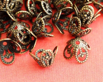 Sale Lead Free 48pcs 8.5mm Antique Bronze Filigree Beads Caps JOK5R052
