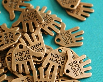 Lead Free 100pcs Antique Copper Hand Charms 12mm