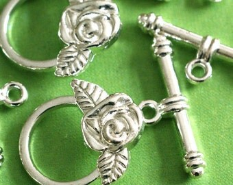 6 Silver Tone Rose Flower Clasp Sets