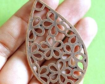 Sale 8pcs Big Antique Copper  Teardrop with Flower Pendants EA13534Y-R