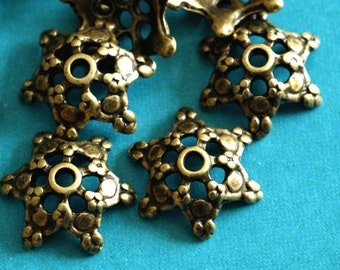 Lead Free 10pcs Antique Bronze Flower Bead Caps A0529-AB