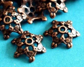 Lead Free 10pcs Antique Copper Flower Bead Caps A0529-R