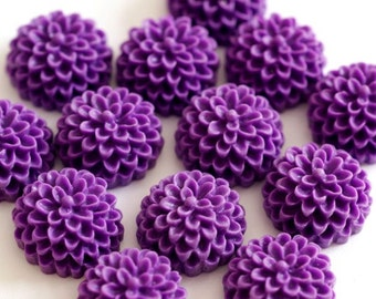 6pcs High Quality Purple Resin Petite Daisy Cabochon
