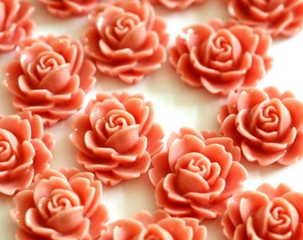 12pcs High Quality Coral Resin Petite Daisy Cabochon