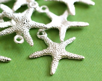 100pcs Silver Finish Alloy Starfish Sea Star Charms EA306Y-S