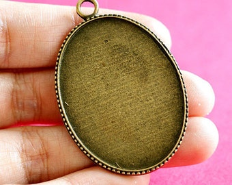 Sale Lead Free 10pcs Antique Bronze Flat Oval Cameo Base Settings