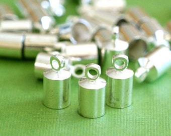 Wholesale 50pcs Silver Finish Cylinder with Loop Cord Brass End Caps EC040-S