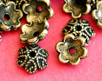 Sale Lead Free 24pcs Antique Bronze Flower Bead Caps ZN181-AB-LF