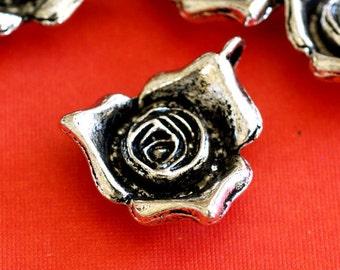 Sale Lead Free 6pcs Antique Silver Big Rose Pendants LF8434Y
