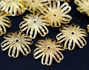 24pcs 15mm Golden Filigree Flower Bead Caps E555Y-G