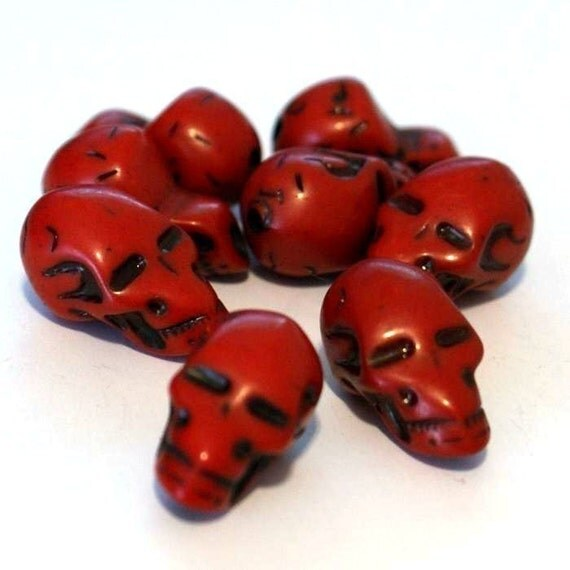 Clearance 30pcs 22mm antique acrylic red skull beads
