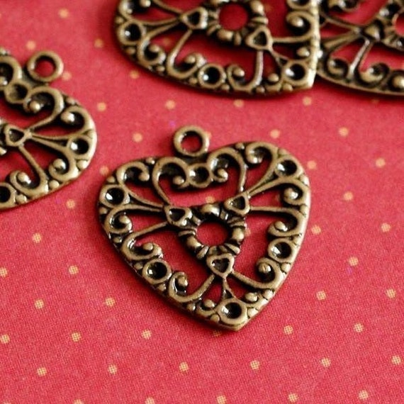 Buy One Get One Free -  Top Quality 12pcs Antique Brass Filigree Heart Pendants 7-DX1