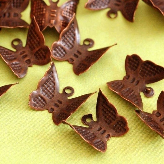 Sale Nickel Free 50pcs Antique Copper Butterfly Charms E261Y-NFR