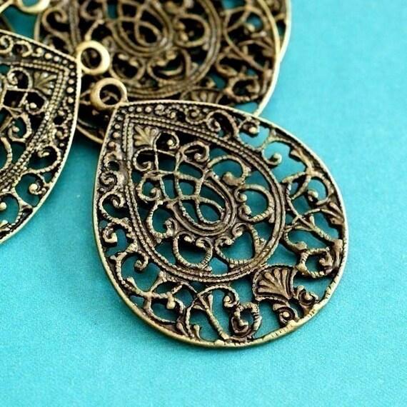 8pcs Antique Bronze Drop FILIGREE Pendants EA10932Y-AB