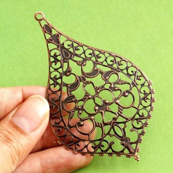 50pcs 76mm ANTIQUE Copper FILIGREE Pendants