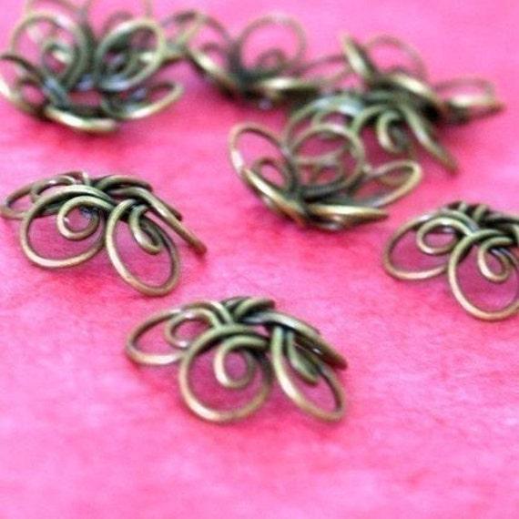 8pcs Antique Bronze Wire Flower Caps