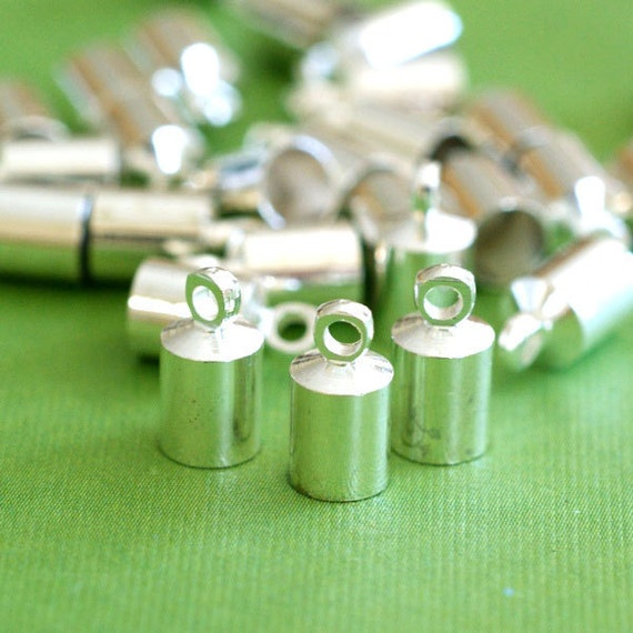 10pcs Silver Finish Cylinder with Loop Cord Brass End Caps EC040-S