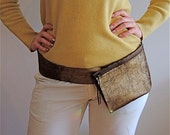 ON SALE - Gold Leather Belt Pouch