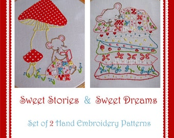 Sweet Dreams and Stories Mouse - Embroidery PDF Patterns - Set of 2
