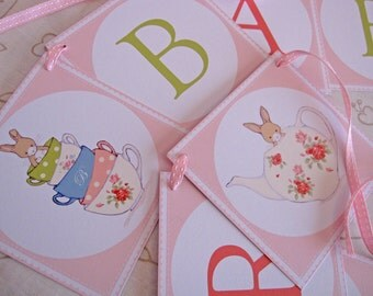 Happy Birthday/Baby Shower Banner - Friends for Tea Party - Bunny Party