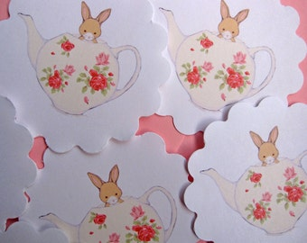 6 Scalloped Stickers - Bunny & her Teapot