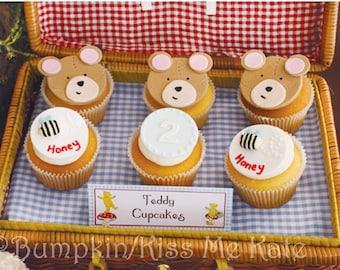 Teddy Bear Picnic Food Tent Cards Food labels Blue baby boy Blue baby girl Food tags birthday Digital PRINTABLE DIY