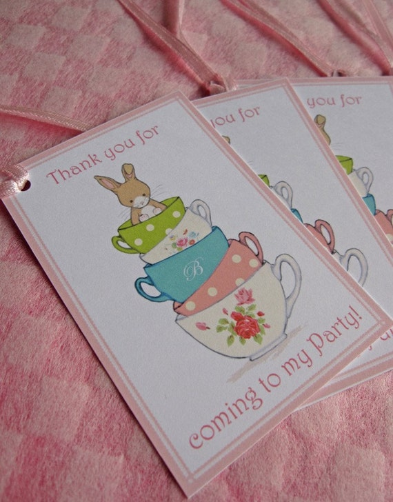 Friends for Tea - Bunny Tea Party - 6 x Thank you for coming to my Party Gift Tags