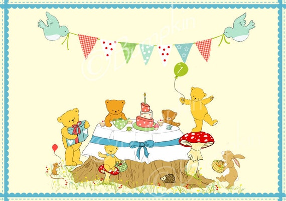 Items similar to Personalized Teddy Bears Picnic Invitation Set – Teddy Bears Picnic Party Invitations