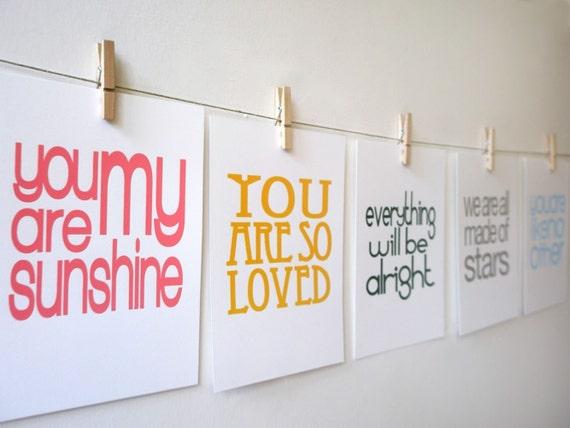 set of 5 inspirational screen prints