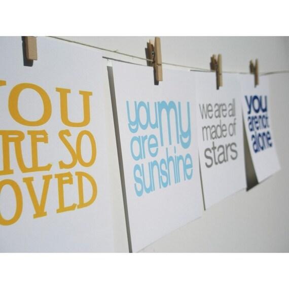 set of 4 unframed inspirational screen prints