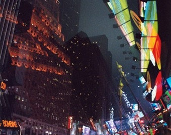 neon fracture: nyc photography. surreal photography. fine art photograph. multiple exposure photo. neon light times square new york city art