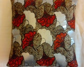 Red & Silver Floral AFrican Asian Print Home Decorating Throw Pillow Cover