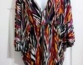 Ikat Tribal Print Draped Tunic Top Dress