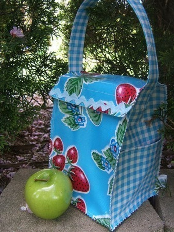 Oilcloth Lunch Bag-Strawberry and Blue Gingham