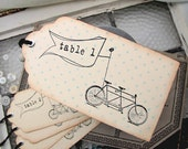 Wedding Escort Card Vintage Inspired Tandem Bicycle Tag - SunshineandRavioli
